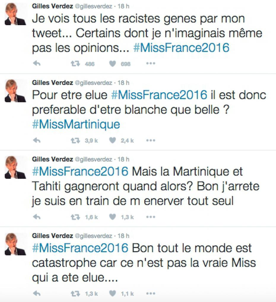 gilles verdez tweets Miss France 2016