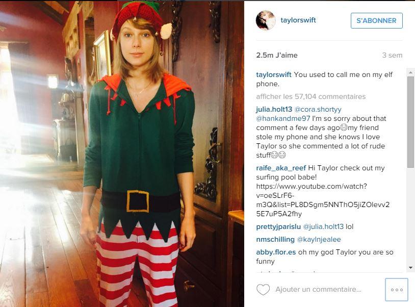 Taylor Swift déguisée sur Instagram