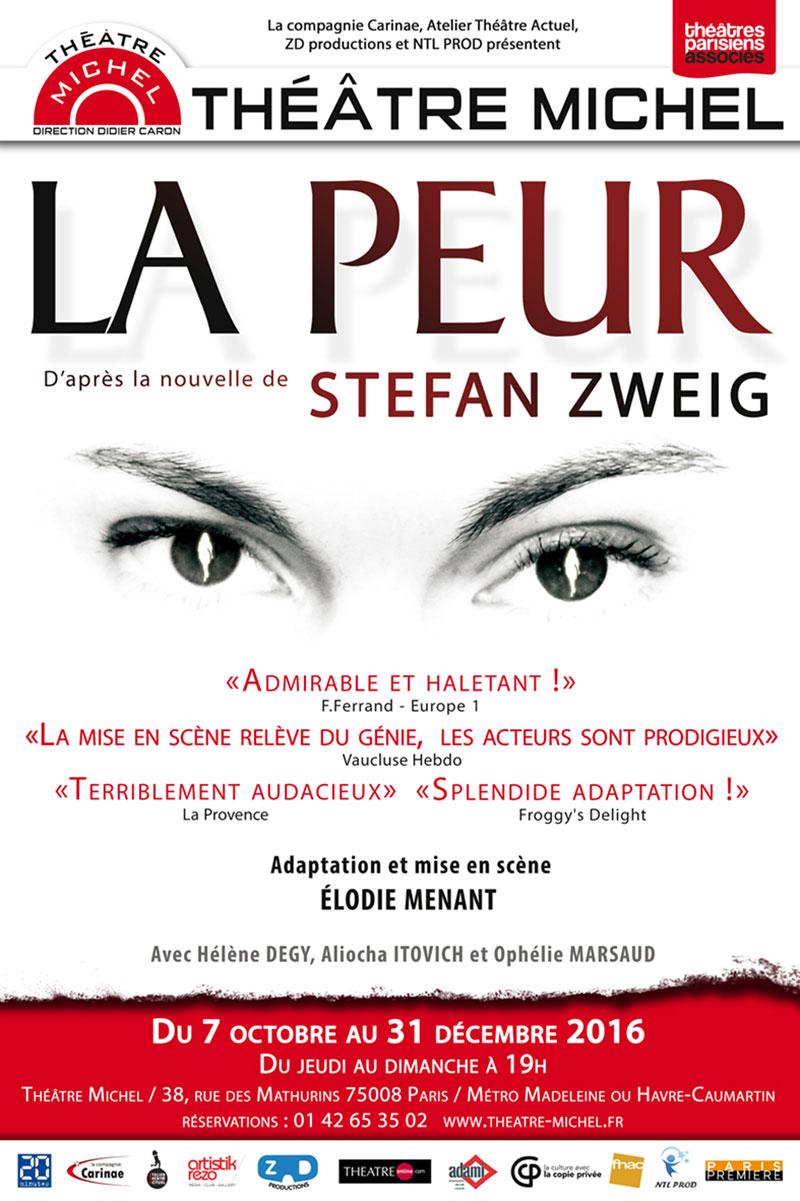 """Affiche de """"La Peur"""" de Stefan Zweig au Théâtre Michel à Paris"""